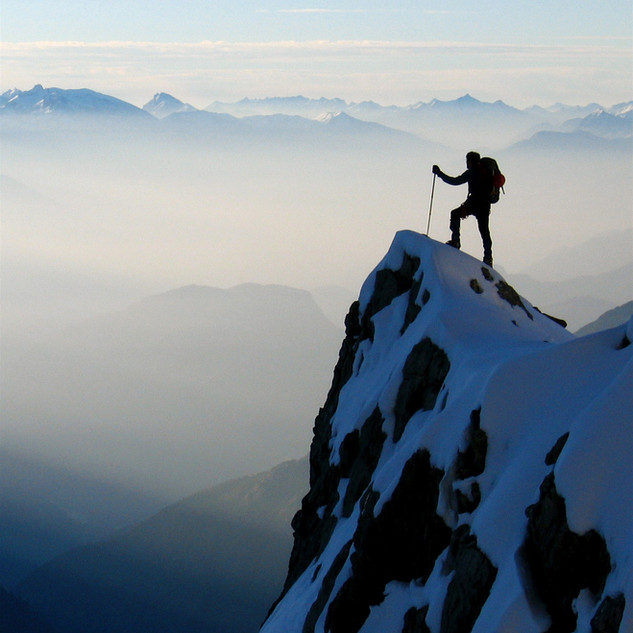 Mountaineer above the glacier Blanc.