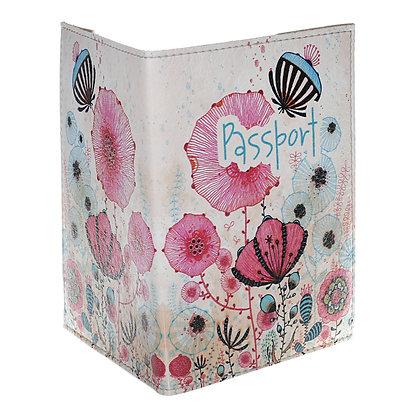 Etui Passeport en Cuir - Fleurs