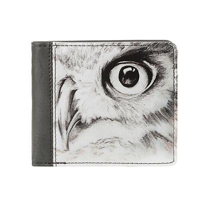 Portefeuille carré gris homme ou femme - Hibou