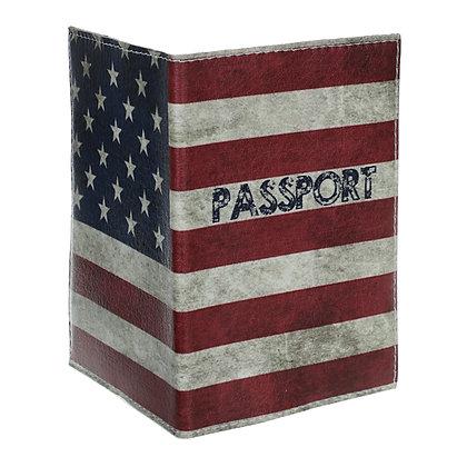 Pochette Passeport en Cuir - US drapeau