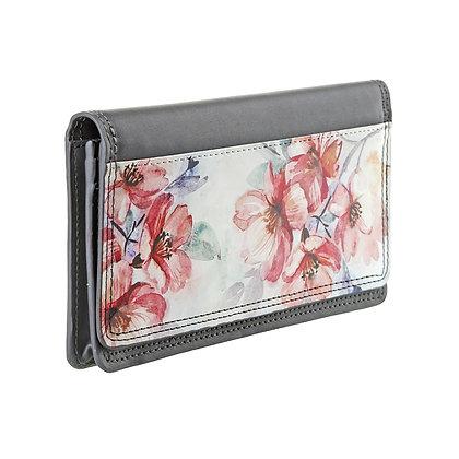 Portefeuille rectangulaire femme gris - Fleurs roses