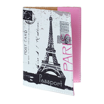 Etui Passeport en Cuir rose - Paris Tour Eiffel