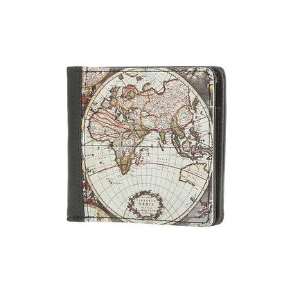 Portefeuille carré gris homme ou femme - Carte du monde