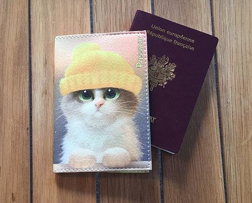 Pochette Passeport en Cuir - Chaton