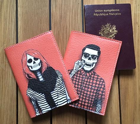 Pack Couple Branché - Deux étuis passeport en cuir - Squelettes