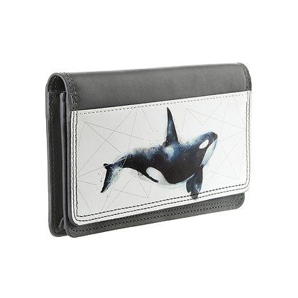 Portefeuille rectangulaire femme gris - Baleine bleue