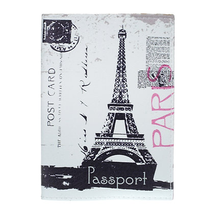 Etui Passeport en Cuir rose - Paris Tour Eiffel