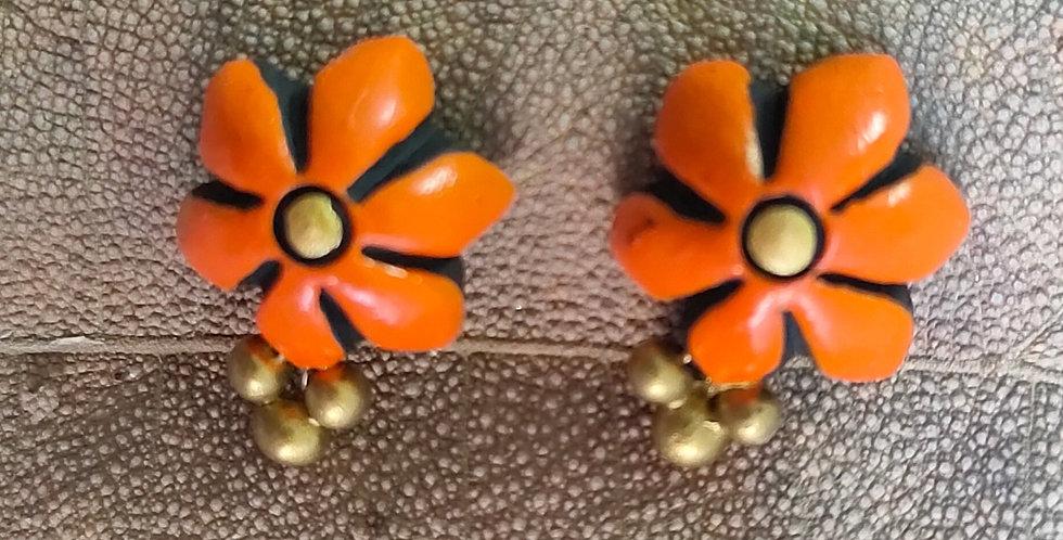 Orange Clay Flower Stud