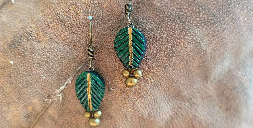 Clay Leaf Drop Earring