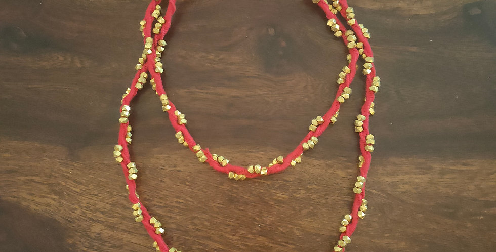 DOKRA BEAD NECKLACE RED