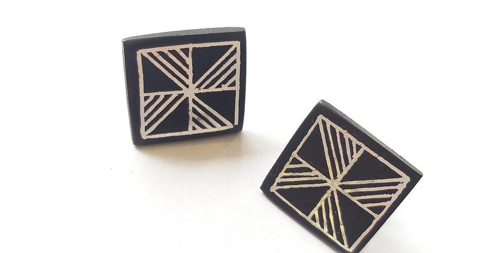 Bidri Square wheel Stud Earring