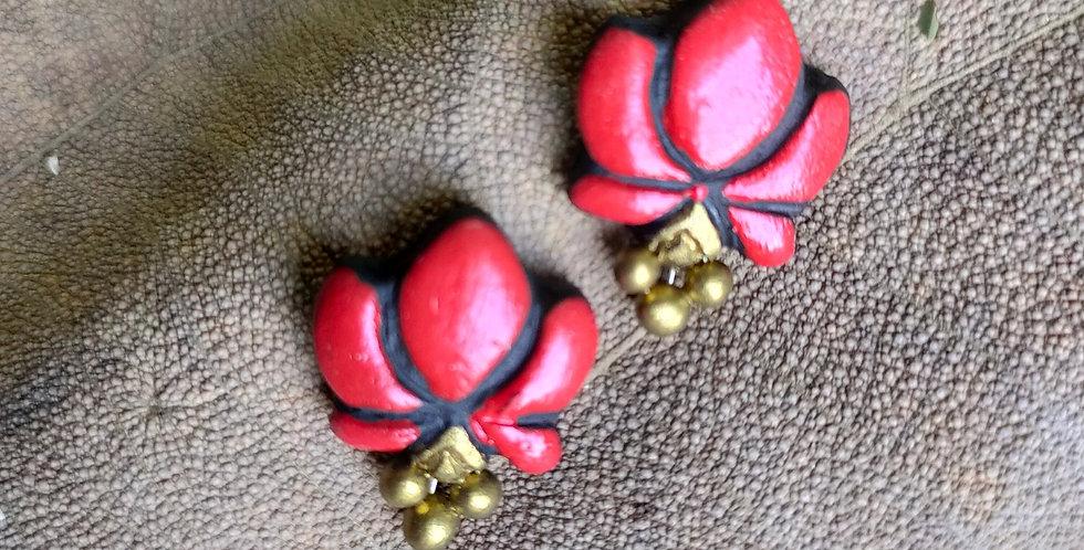 Clay Lotus Drop Earring