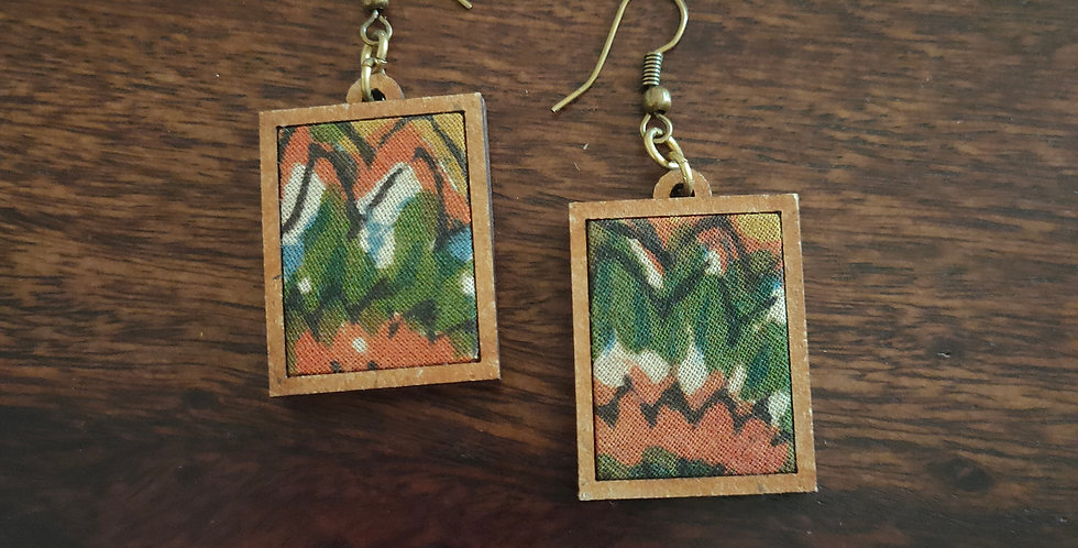 Kalmkari mdf drop earring
