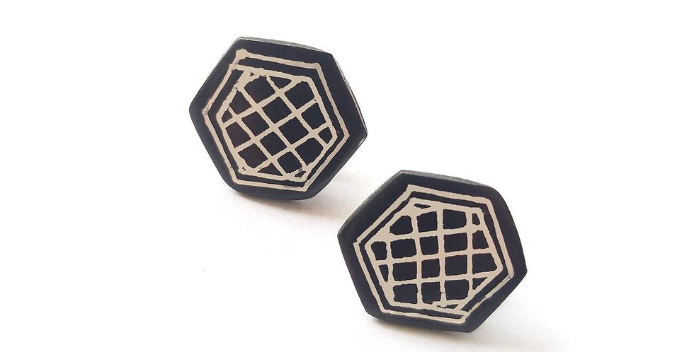 Bidri Geometric Stud Earring