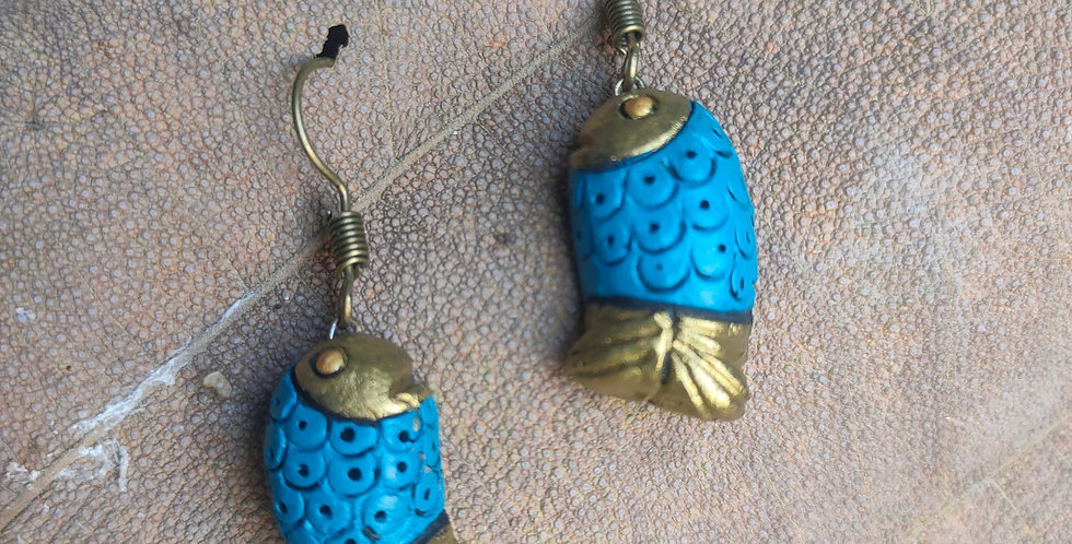 Clay Fish Drop Earring