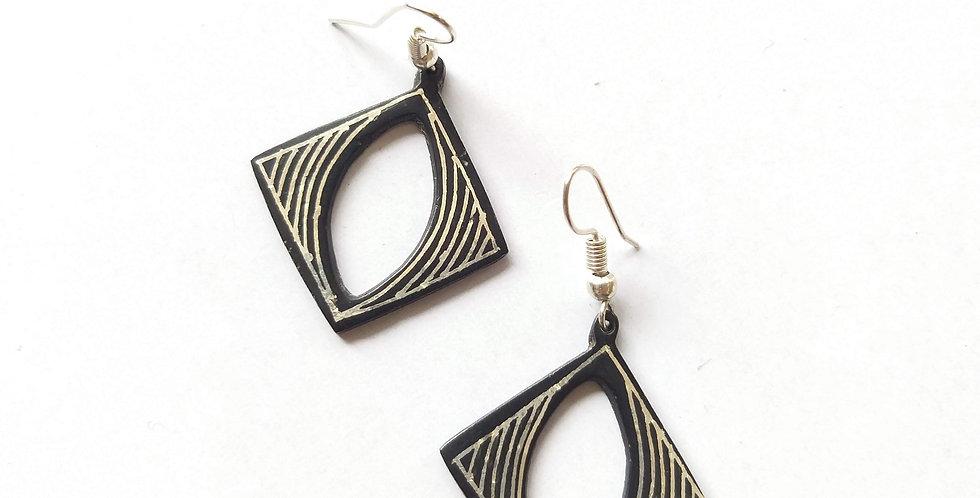 Bidri Square Eye Dangler Earring