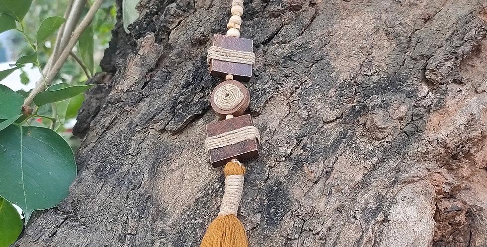 Wood tassel bag charm