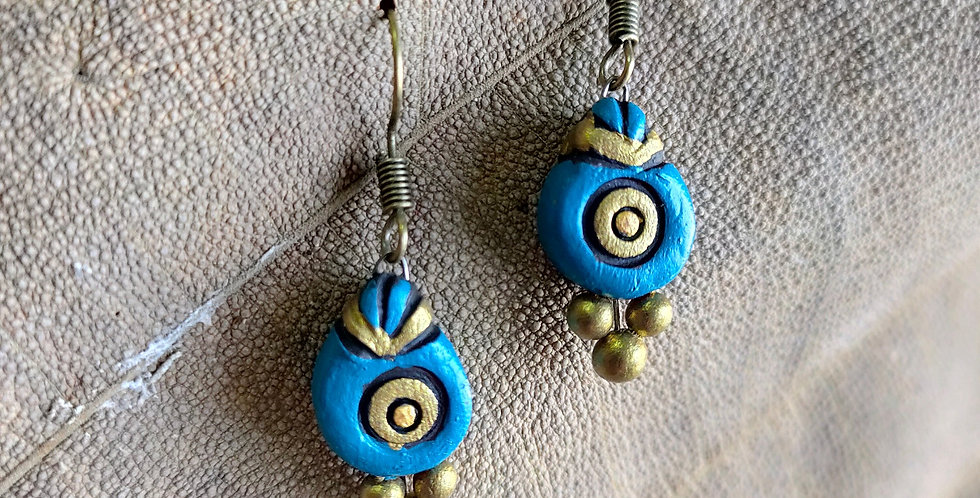 Turquoise Blue Clay Drop Earring