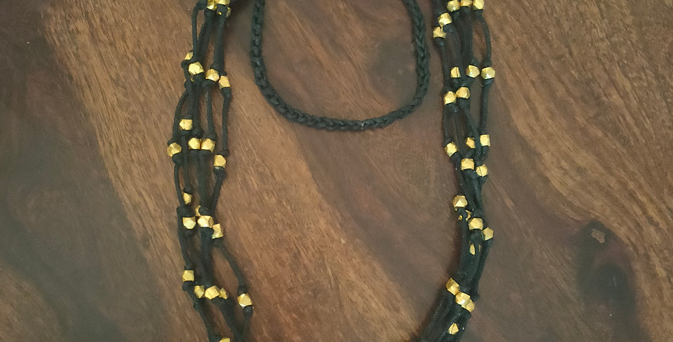 Layered dokra bead necklace