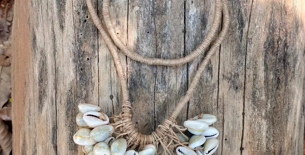 Cowrie jute necklace