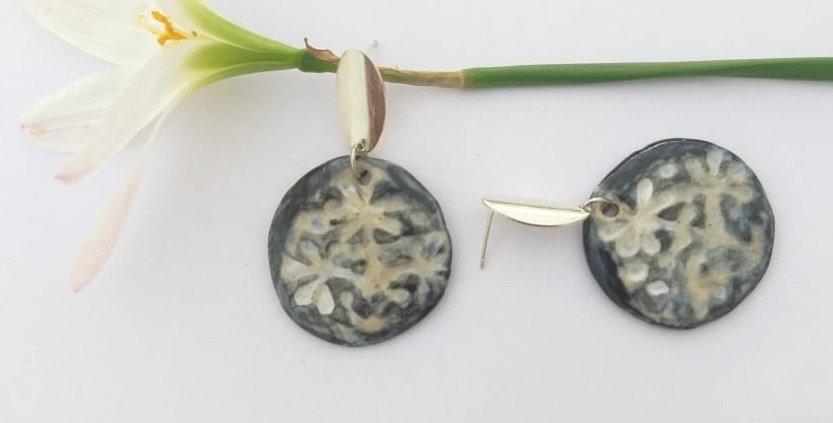 Textured Ceramic Earring
