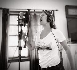 Tatiana Recording vocals
