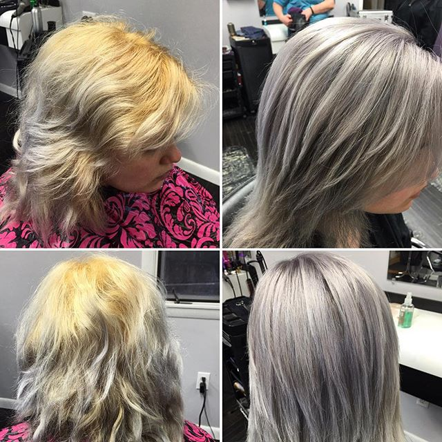 Color correction.  Before and After. Fun with icy silvers. She does it herself at home (left)