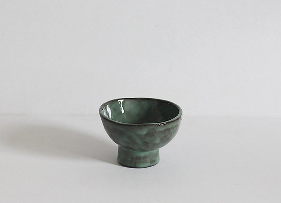 Footed nuts bowl small, green
