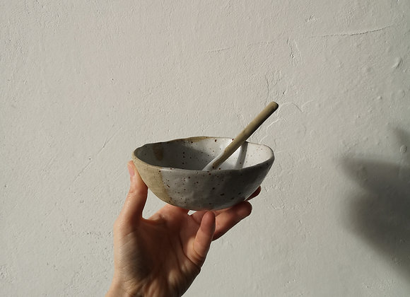 Speckled bowl medium with spoon