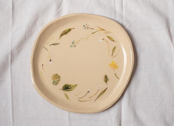Handpainted wildflower brunch plate