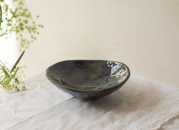 Brown-blue low bowl with foot
