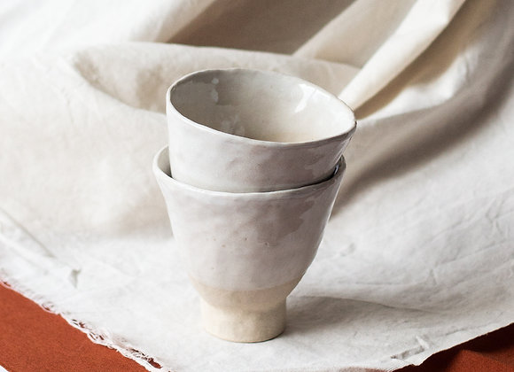 Natural white set of two cups