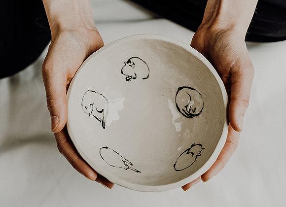Footed cat bowl (wash-sleep cycle)