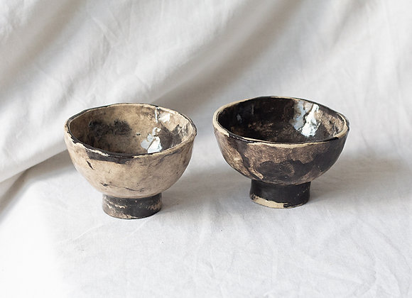 Handpinched bowl set crooked marble
