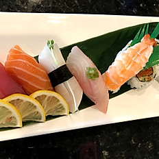 5pcs sushi + California roll or spicy tuna roll