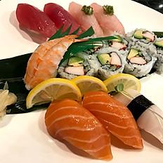 8pcs sushi + California roll or spicy tuna roll