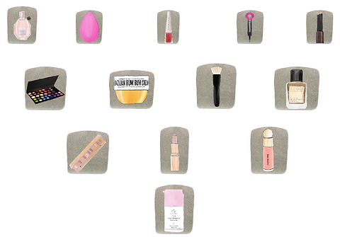 Illustrations of a collection of beauty products that are ready to be rehomed on Glou Beauty Marketplace.