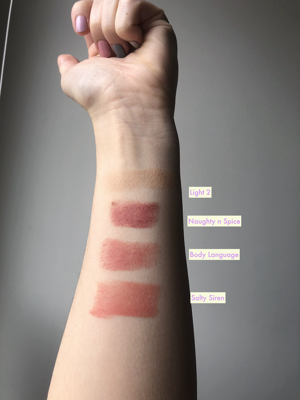 Nudies Tinted Blur and Blush Swatches (Light 2, Salty Siren, Body Language, Naughty n Spice)