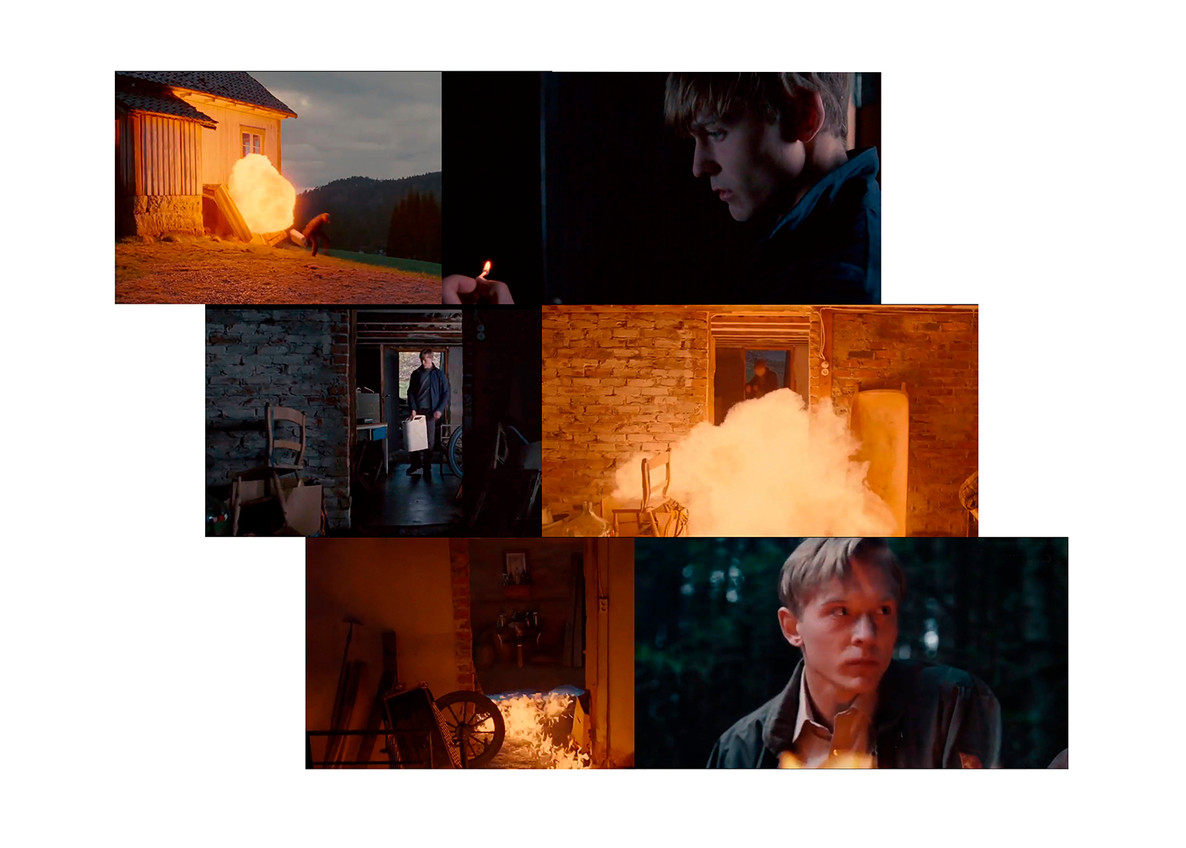 The act (A collage made out of screenshots from the movie Pyromaniac by Erik Skjoldbjærg)