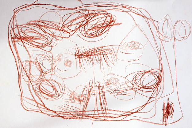 A Cave with Monsters, my three-year-old daughter's drawing