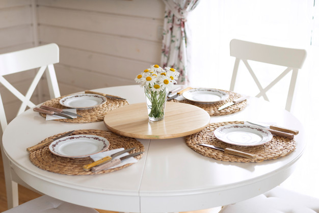 Table laid with knives