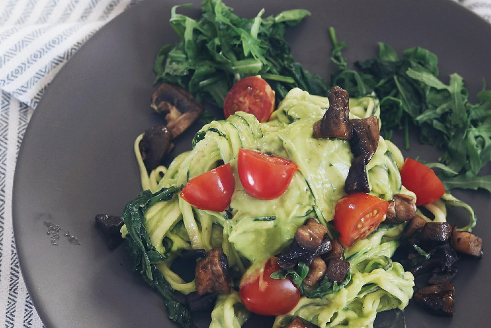 Zucchini noodles with creamy avocado sauce