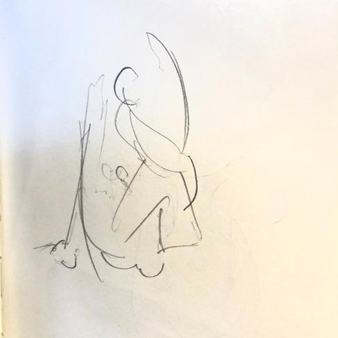Marichyasana - drawing by ©Yanna