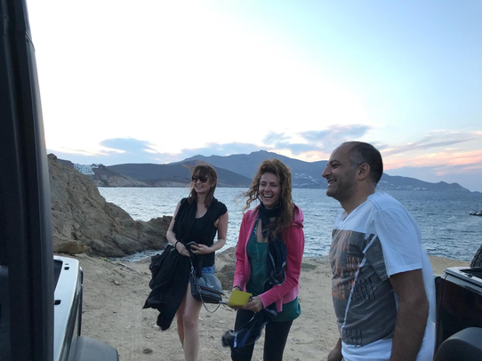 Getting into the jeep, Alemagou Mykonos