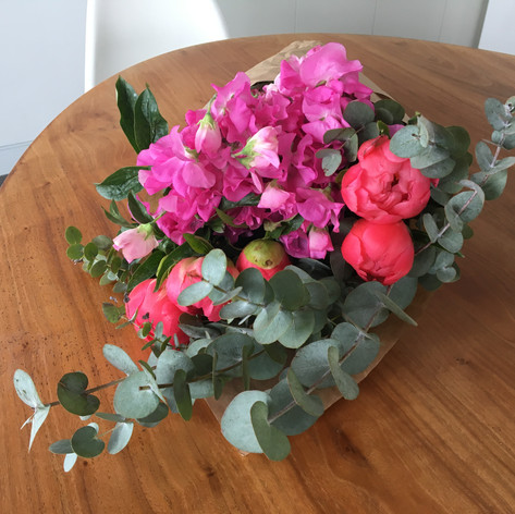 Peonies, Sweet Peas and Eucalyptus