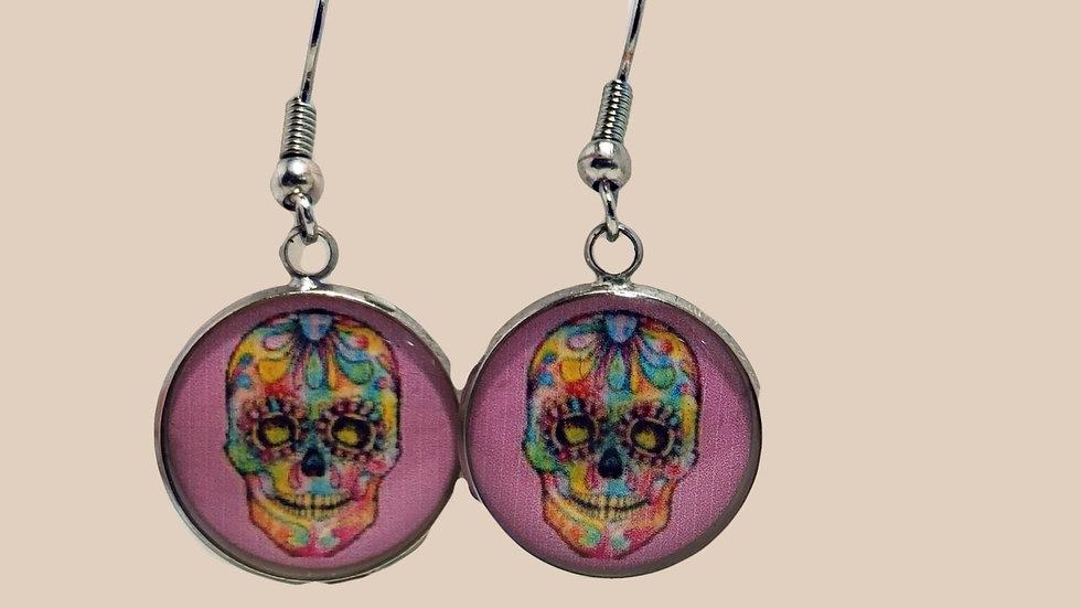 Sugar Skull Photo Disk - Pink