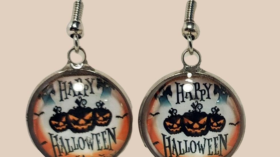 Happy Halloween Jack o Lanterns Cabochons