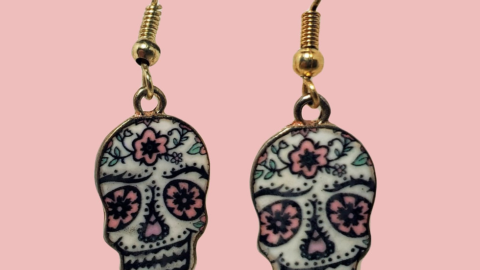 Pink and White Sugar Skulls - Gold
