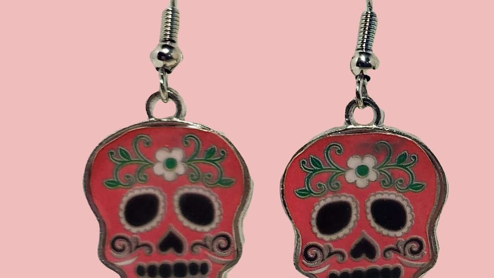Enamel Sugar Skulls - Pink