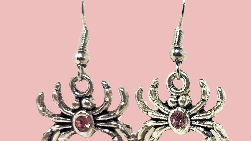 Silver Spiders with Pink Crystals